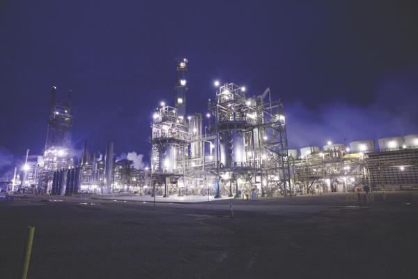 OCI Beaumont plant by night.
